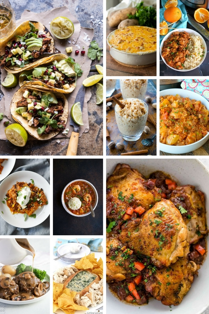 Instant Pot Recipes that include scalloped potatoes, orange chicken, rice pudding and an assortment of casseroles.