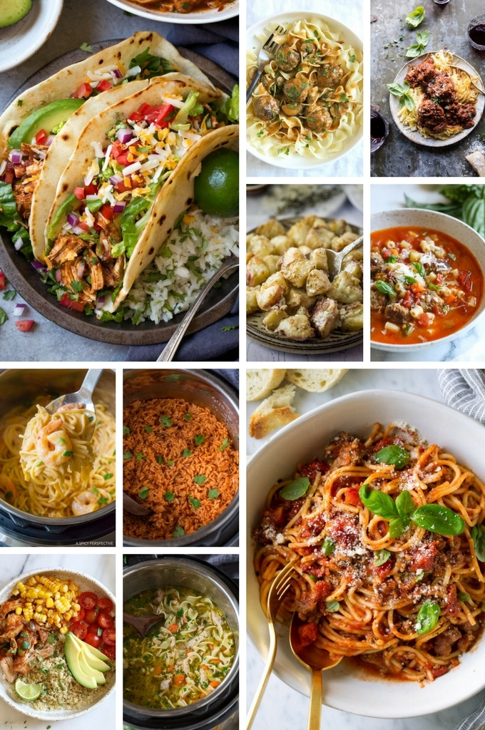 Instant Pot Recipes such as tacos, roasted potatoes, soup and rice dishes.