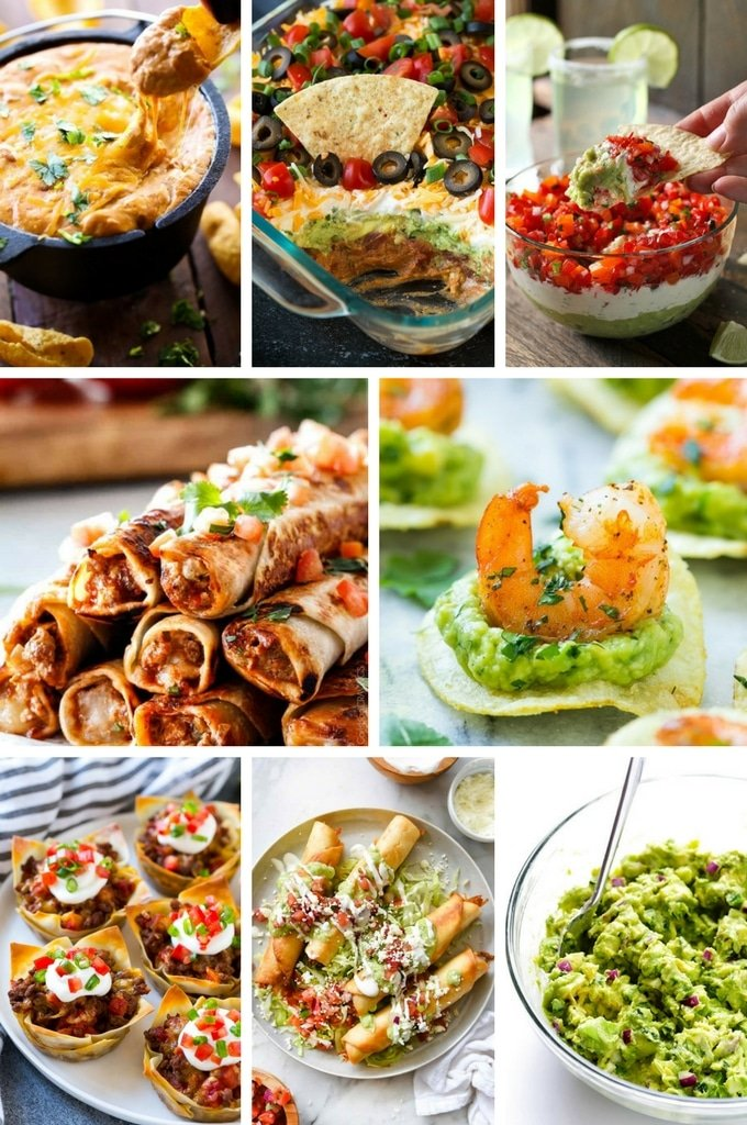 Mexican appetizer recipes including taco cups, guacamole and shrimp bites.