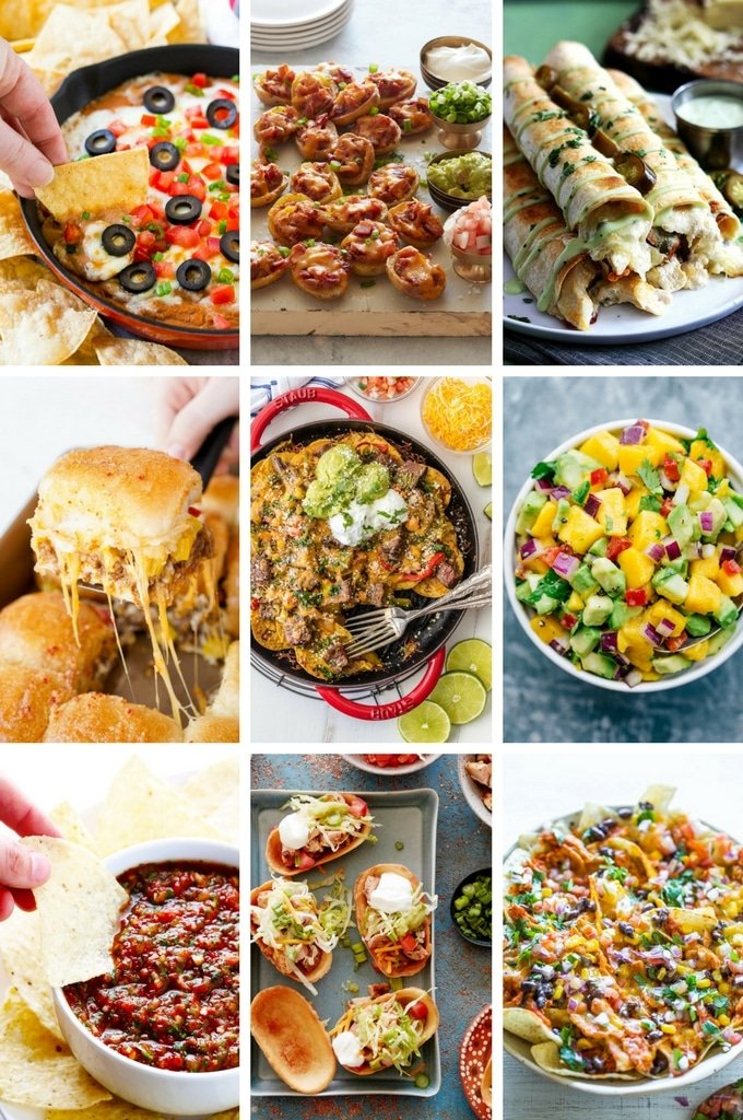 Mexican Appetizer Recipes including taquitos, nachos, salsa and slider sandwiches.