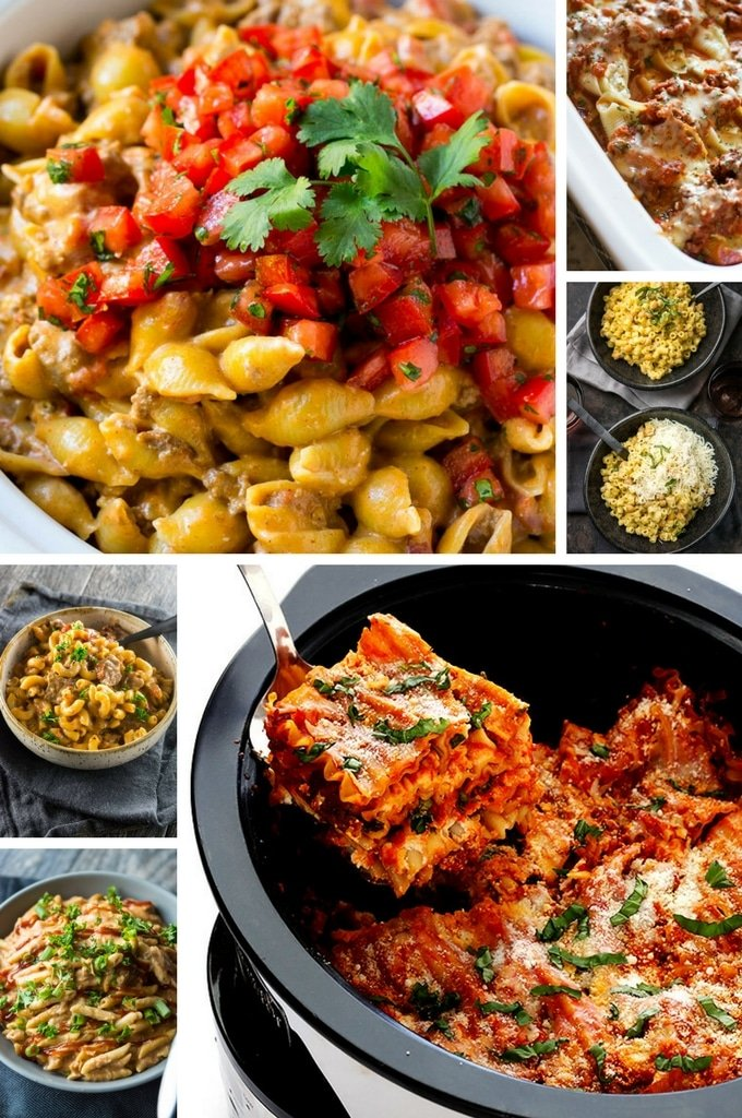 Slow Cooker Pasta Recipes such as butternut squash pasta, lasagna and pesto pasta.