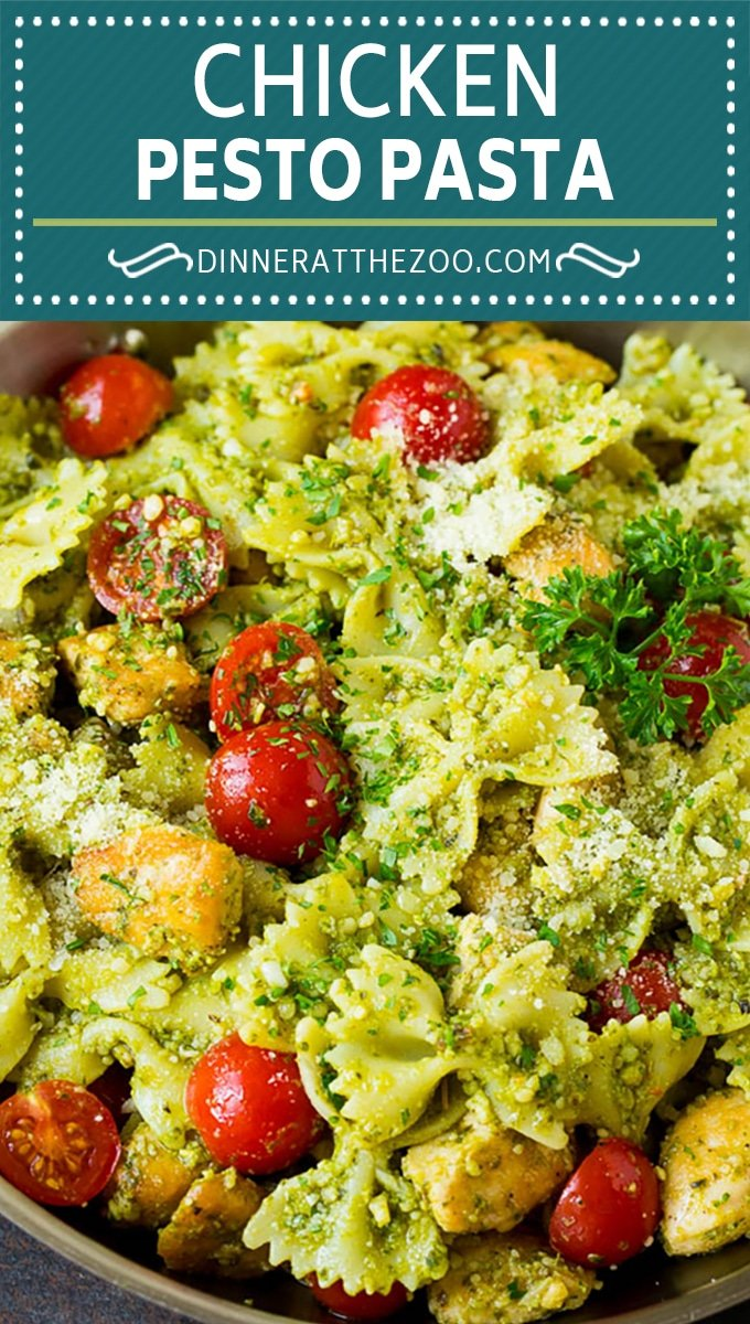 This chicken pesto pasta is sauteed chicken, farfalle pasta and cherry tomatoes, all tossed in basil pesto and finished off with parmesan cheese.