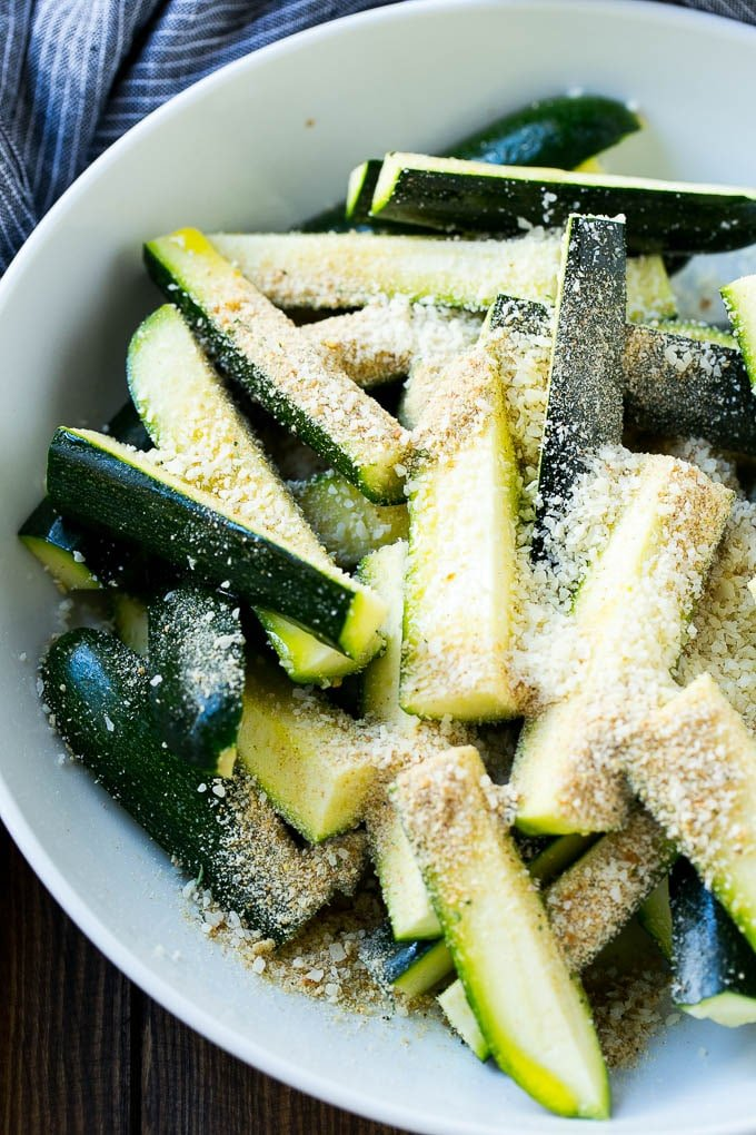 Zucchini with breadcrumbs, parmesan cheese and olive oil.