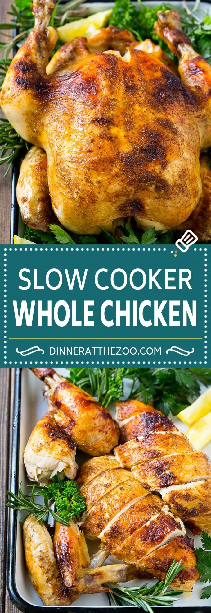 Slow Cooker Whole Chicken | Slow Cooker Rotisserie Chicken | Crock Pot Roasted Chicken | Crock Pot Whole Chicken #chicken #slowcooker #crockpot #glutenfree #dinner #dinneratthezoo