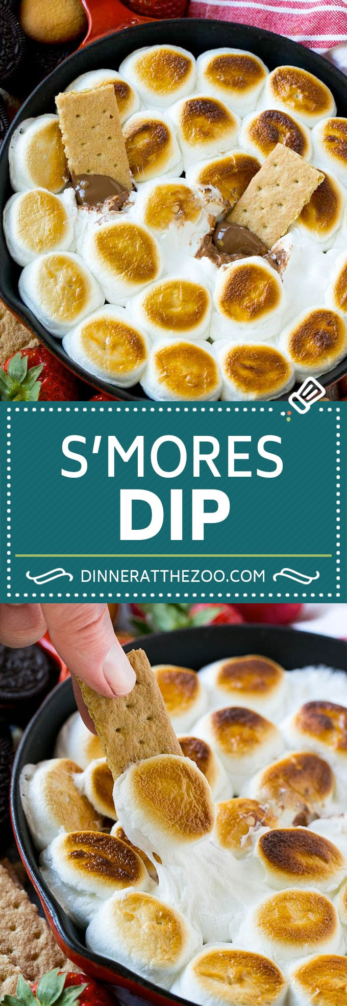 S'mores Dip Recipe | S'mores Skillet | Baked S'mores #smores #dip #chocolate #marshmallow #dessert #dinneratthezoo