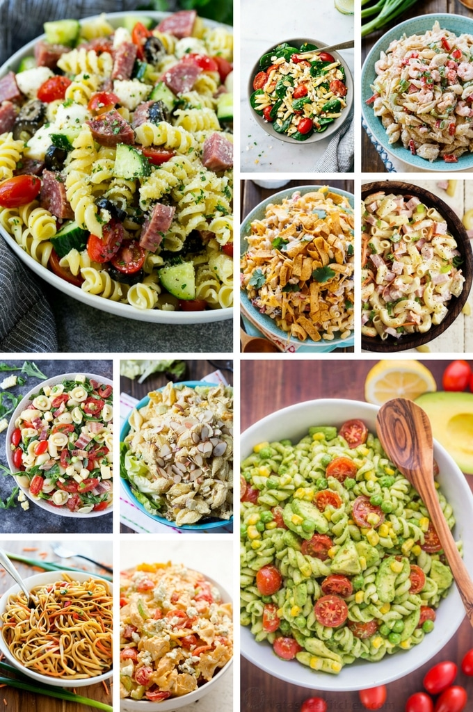 Pasta Salad Recipes with flavors such as buffalo chicken, chicken curry, BBQ ranch and shrimp remoulade.