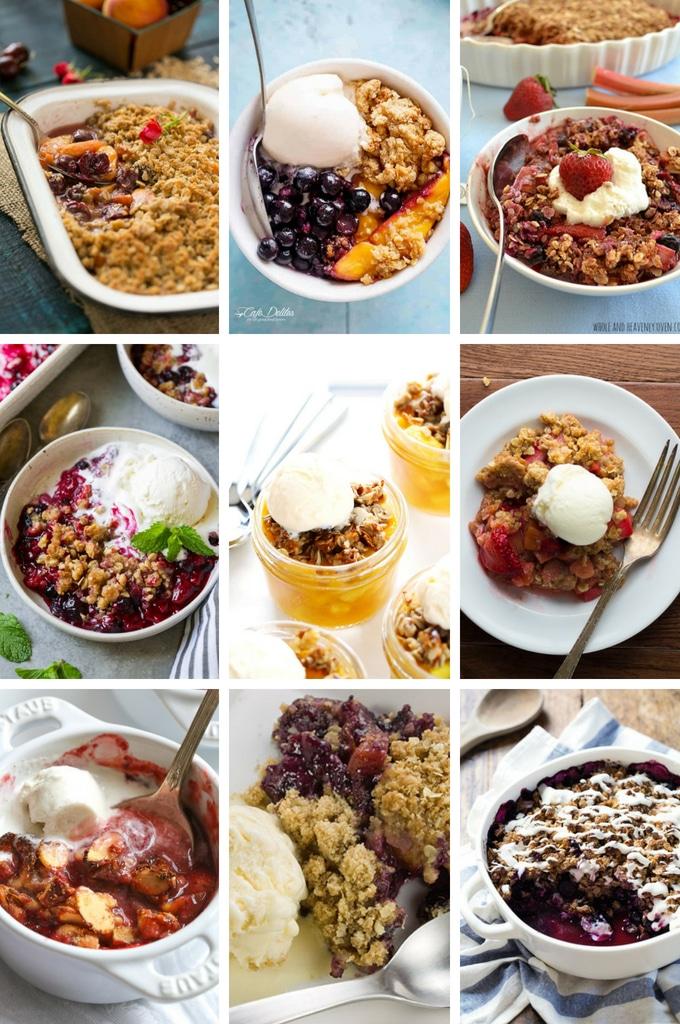Summer Dessert Recipes for fruit crisps, crumbles and cobblers.