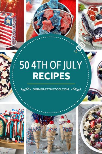 A comprehensive list of red, white and blue 4th of July recipes including drinks, cakes, pies, candy, salads and sweets! These patriotic recipes are perfect for the 4th and are also great for Memorial Day celebrations.