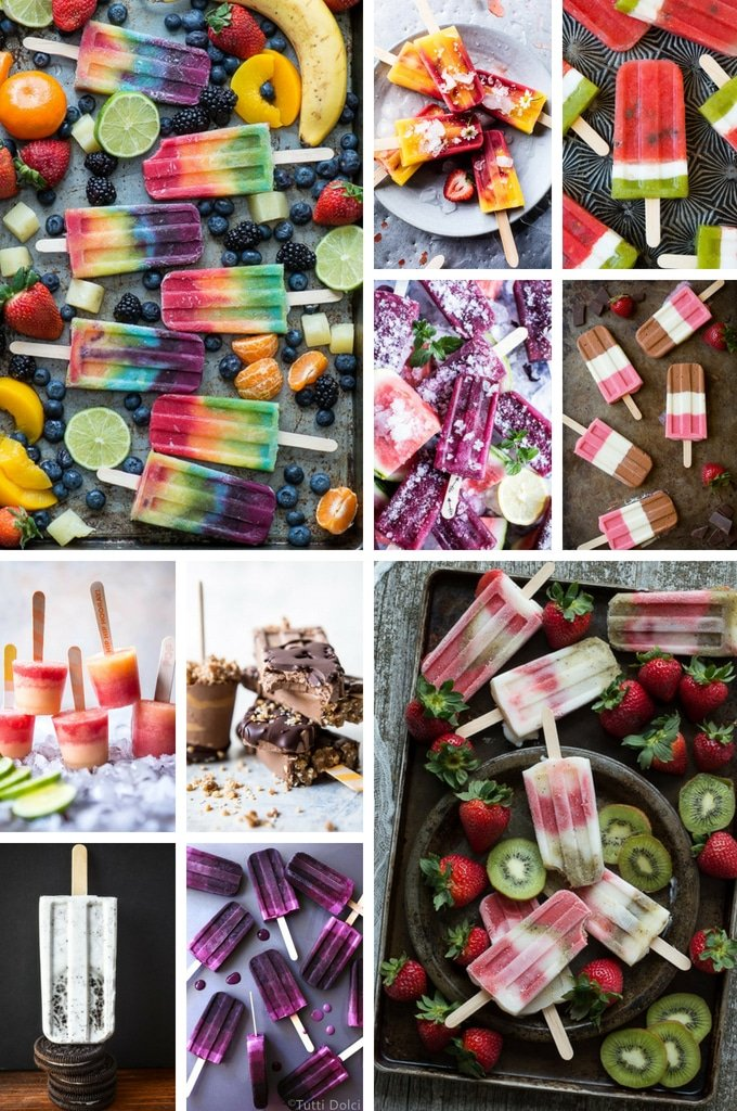 Popsicle recipes including watermelon popsicles, margarita pops and strawberry kiwi popsicles.