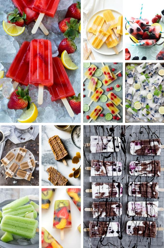 Fruit pop recipes such as lemonade popsicles, mango popsicles and fruit salad popsicles.