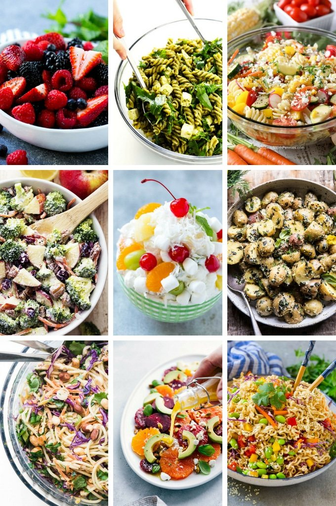 A selection of summer salads such as ambrosia salad, citrus salad and broccoli salad.