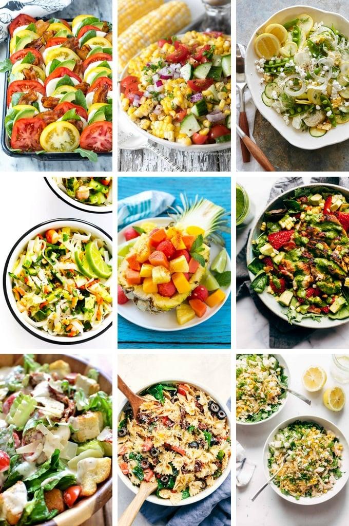 A selection of summer salads including caprese salad, fruit salad and pasta salad.