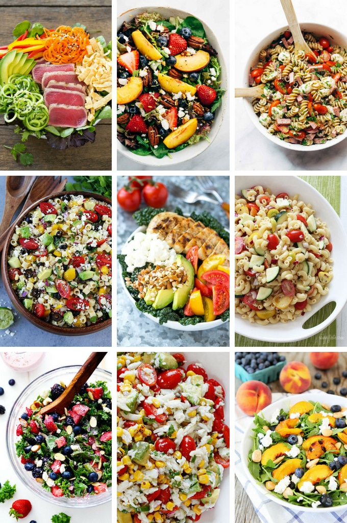 Summer Salad Recipes such as kale salad, macaroni salad, peach salad and berry salad.