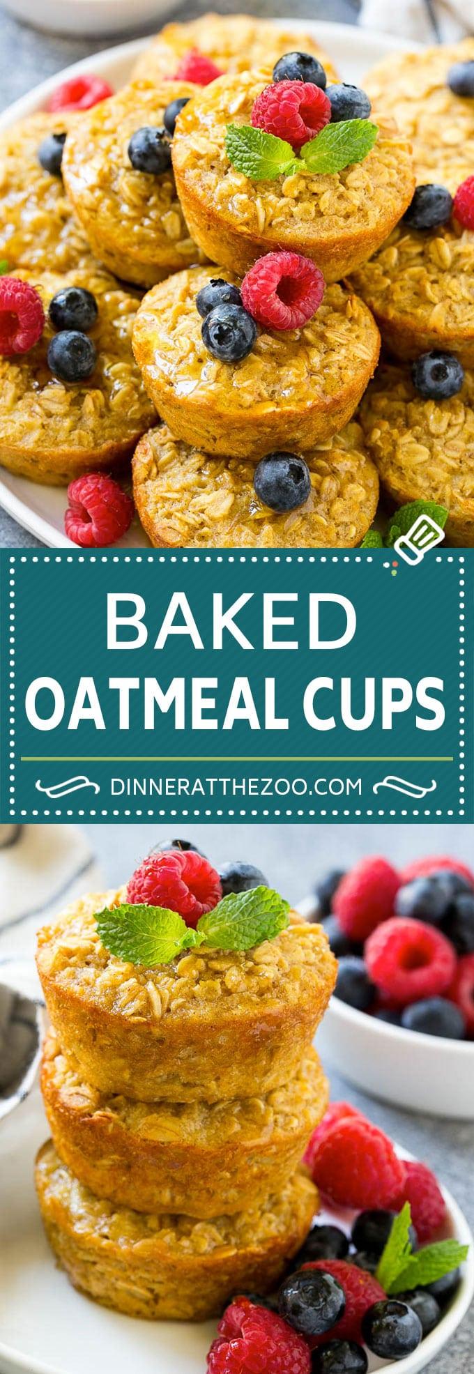 Baked Oatmeal Cups Recipe | Baked Oatmeal | Meal Prep Oatmeal | Oatmeal Muffins #oatmeal #breakfast #dinneratthezoo