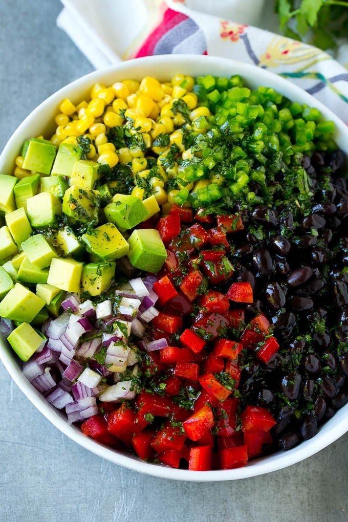 Black beans, corn and assorted vegetables topped with cilantro lime dressing.