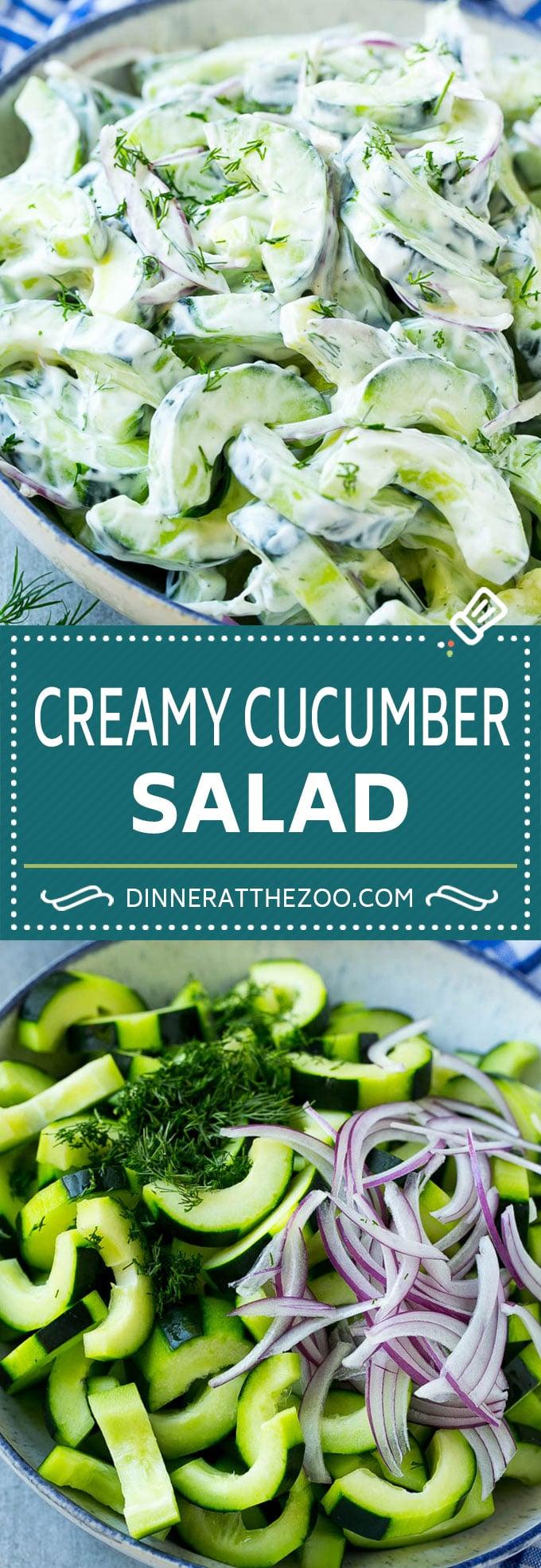 Creamy Cucumber Salad Recipe   Cucumber Dill Salad   German Cucumber Salad   Cucumber Sour Cream Salad #cucumber #salad #recipe #dinneratthezoo