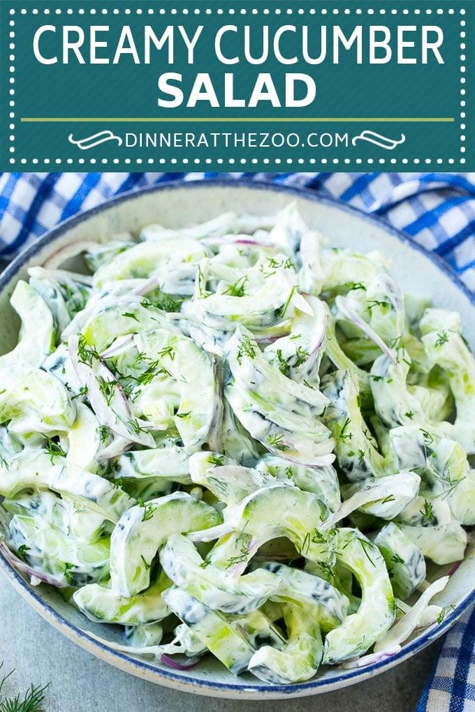 Creamy Cucumber Salad Recipe | Cucumber Dill Salad | German Cucumber Salad | Cucumber Sour Cream Salad #cucumber #salad #recipe #dinneratthezoo