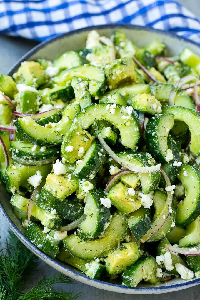 Cucumber feta salad with avocado, dill and red onions, all tossed in a Greek style dressing.