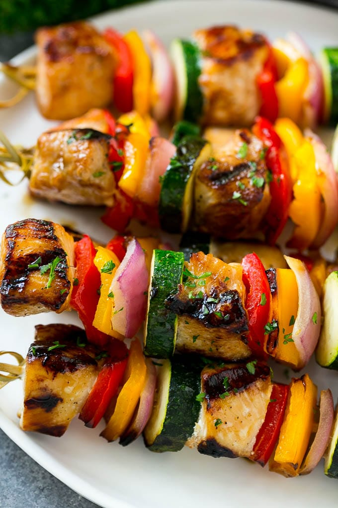 Grilled chicken kabobs with peppers, onion and zucchini.