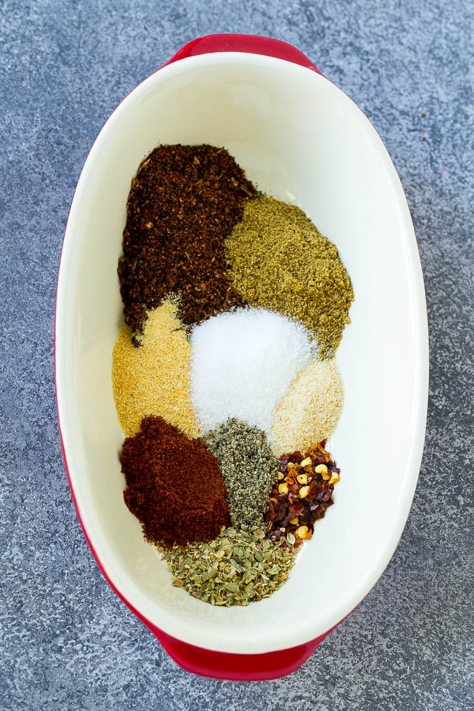 A mixture of spices to make homemade taco seasoning.