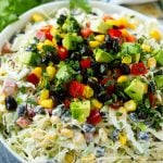 Mexican coleslaw made with cabbage, black beans, corn, red pepper and avocado, tossed in a creamy dressing.