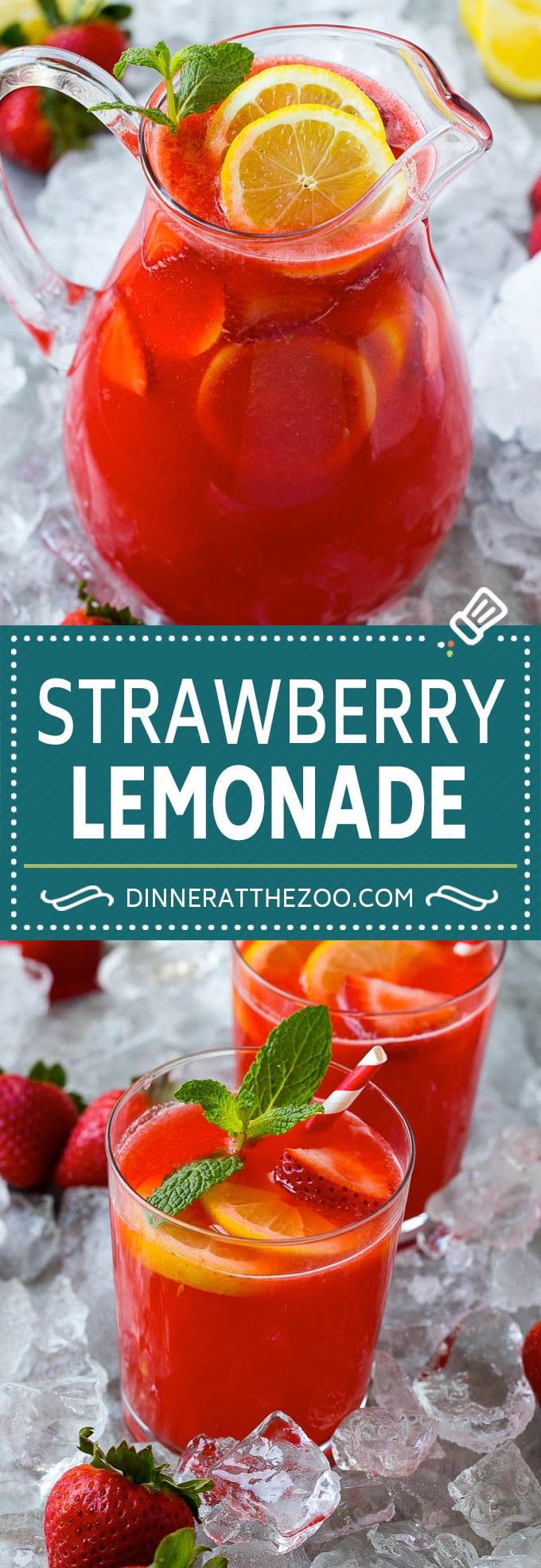 Strawberry Lemonade Recipe | Homemade Lemonade | Strawberry Drink Recipe #lemonade #strawberries #drink #dinneratthezoo