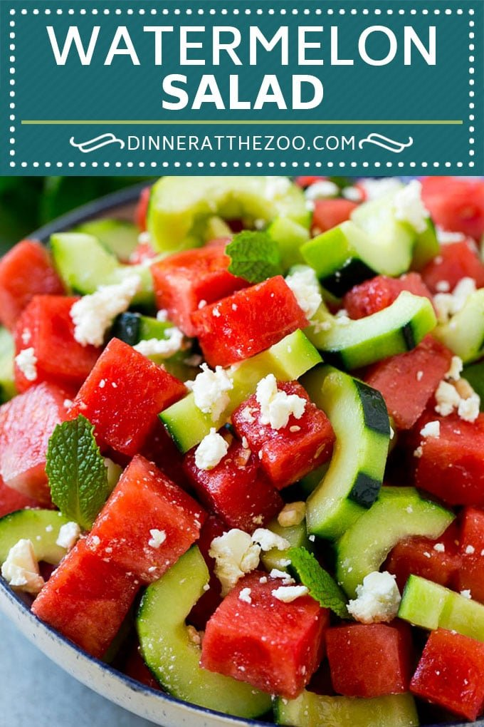 Watermelon Salad Recipe | Watermelon Feta Salad | Watermelon Cucumber Salad #watermelon #cucumber #salad #dinneratthezoo