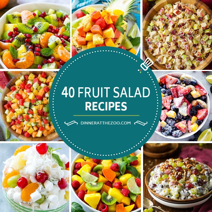 Fruit salad recipes including creamy fruit salad, tropical fruit salad and ambrosia.