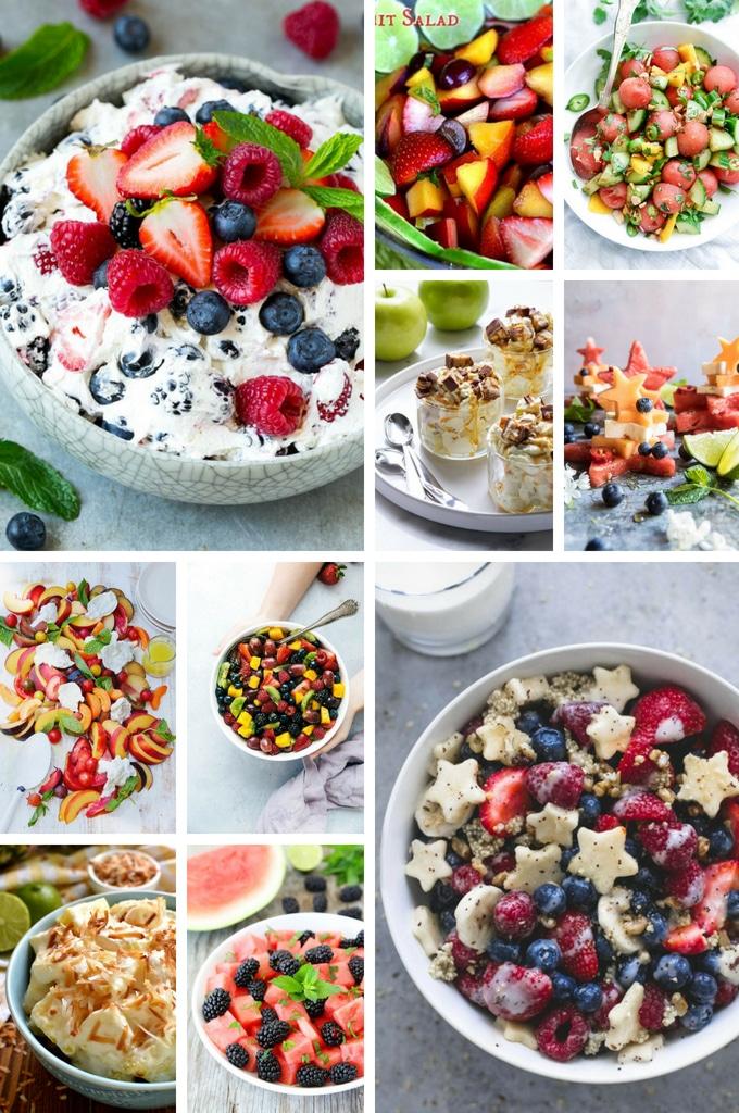 Fruit salads such as stone fruit salad, pina colada salad and patriotic fruit salad.