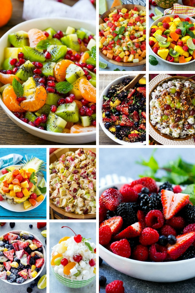 A variety of fruit salad recipes with ambrosia, berry fruit salad, tropical fruit salad and melon salad.