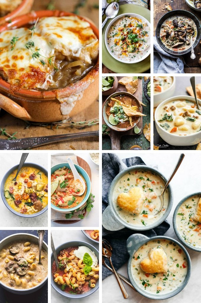 Slow cooker soups including pot pie soup, lasagna soup and chili.