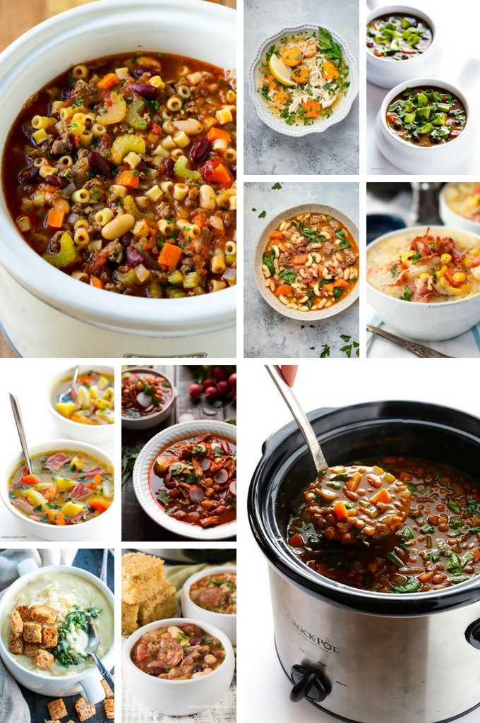 Crock pot soup recipes such as lentil soup, sausage soup and potato soup.