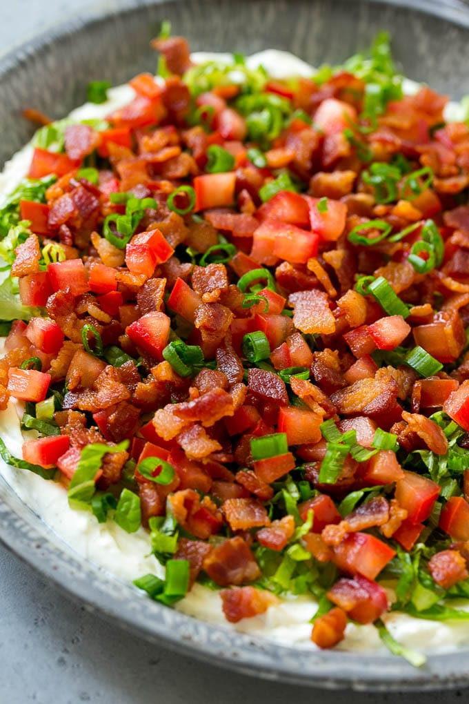 BLT dip with a creamy ranch base, lettuce, tomatoes and bacon.