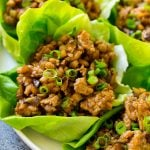 Chicken lettuce wraps with ground chicken in a savory sauce, just like the ones served at PF Chang's.