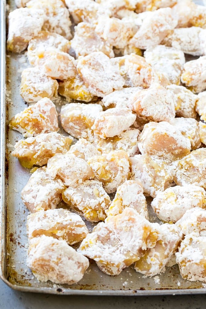 Chicken breast pieces coated in egg, flour, cornstarch and seasonings.