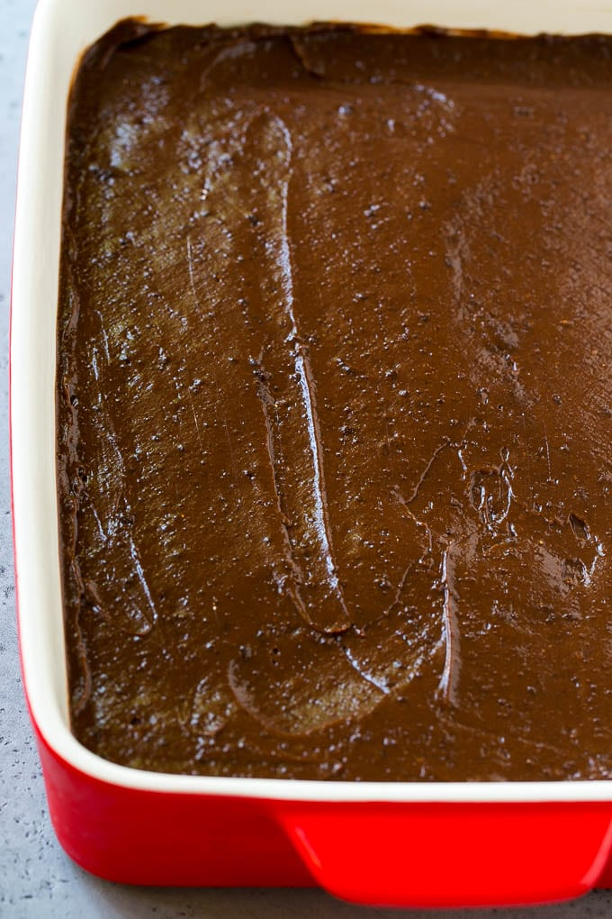 The pudding layer of a chocolate lasagna dessert.