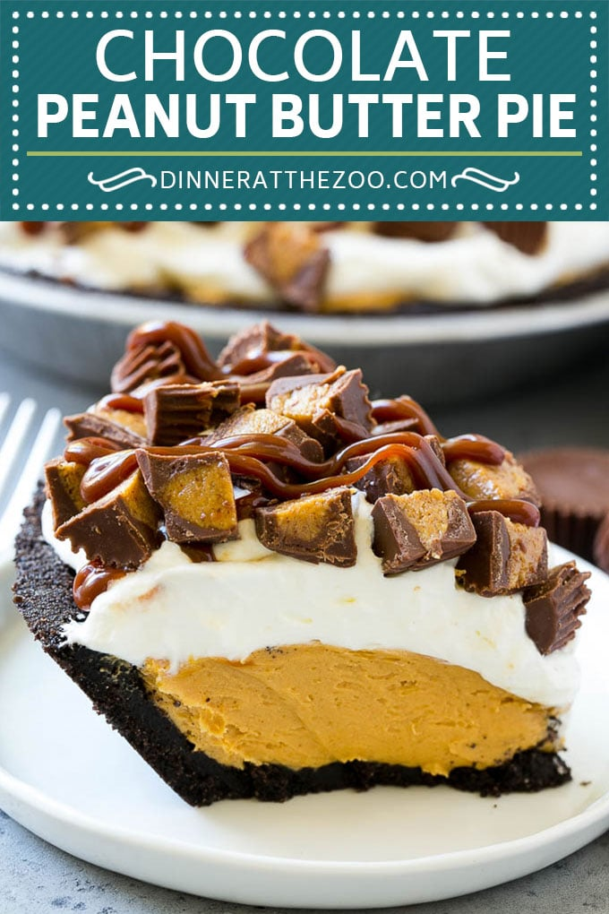 Chocolate Peanut Butter Pie Recipe | Peanut Butter Cup Pie | Peanut Butter Pie | No Bake Pie #chocolate #peanutbutter #pie #nobake #dessert #dinneratthezoo