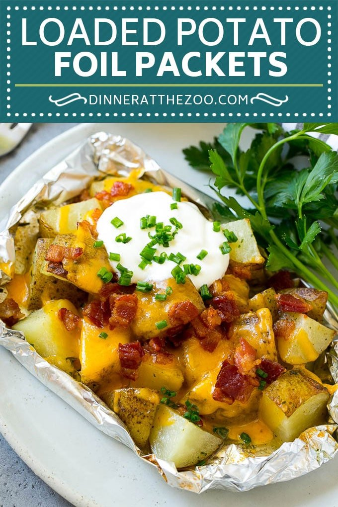 Grilled Potatoes in Foil | Potato Foil Packets | Loaded Potatoes #potatoes #bacon #cheese #grilling #sidedish #dinneratthezoo
