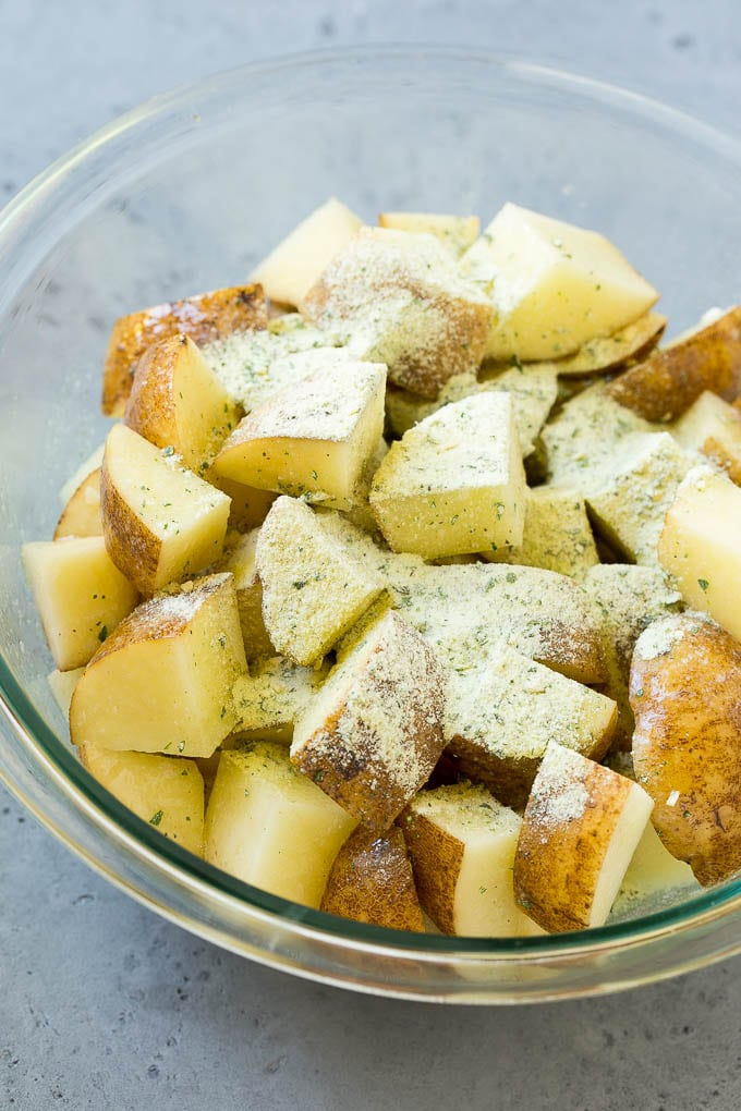 Potatoes with melted butter and ranch powder.