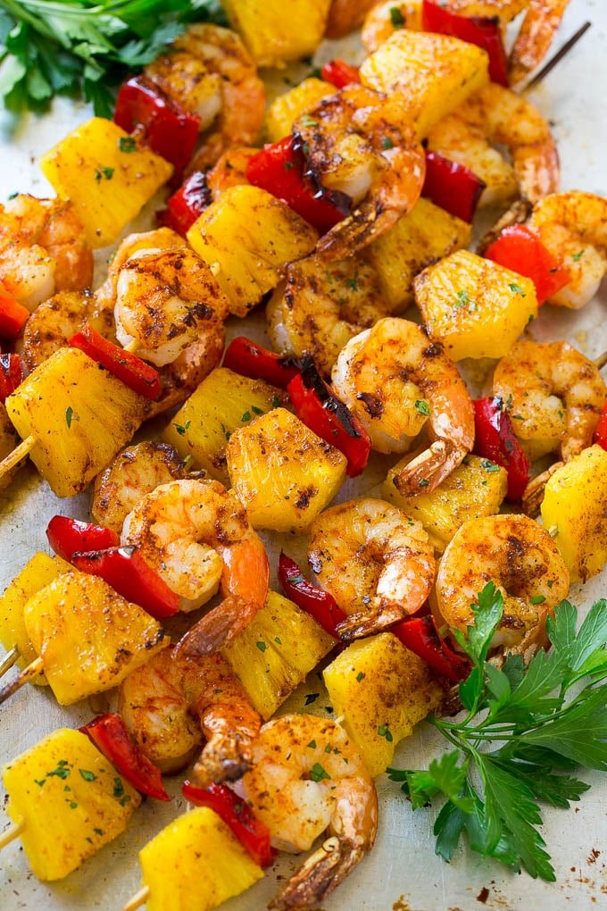 Jerk shrimp kabobs made with fresh pineapple, red bell peppers and jerk seasoning.