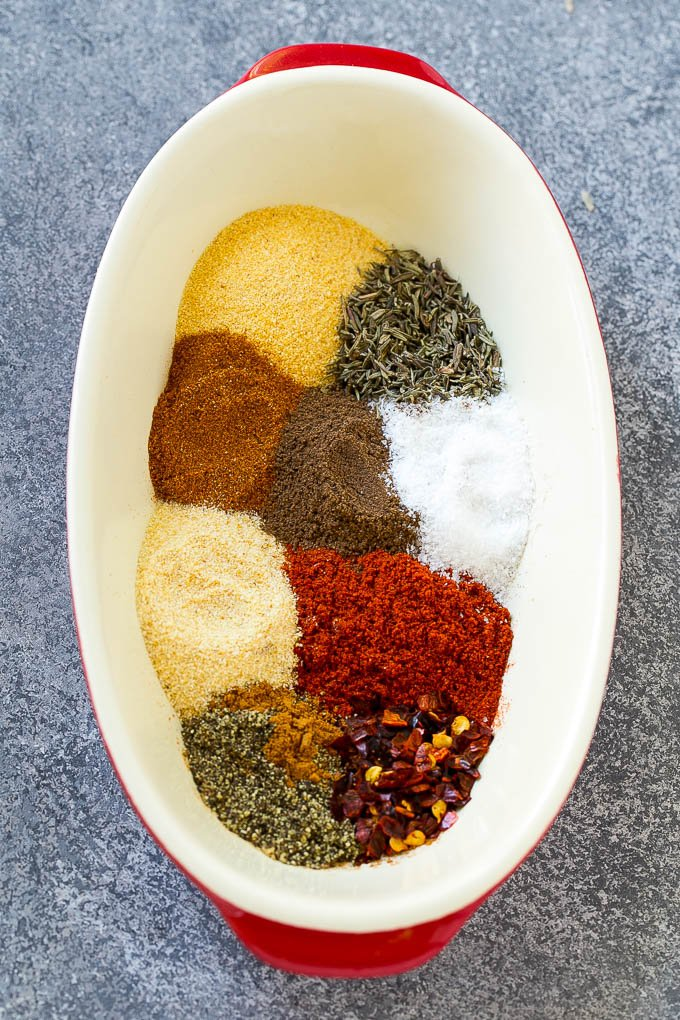 Spices for homemade jerk seasoning.