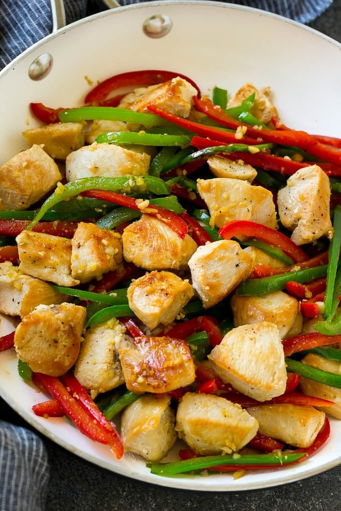 Chicken, bell peppers, garlic and ginger in a skillet.