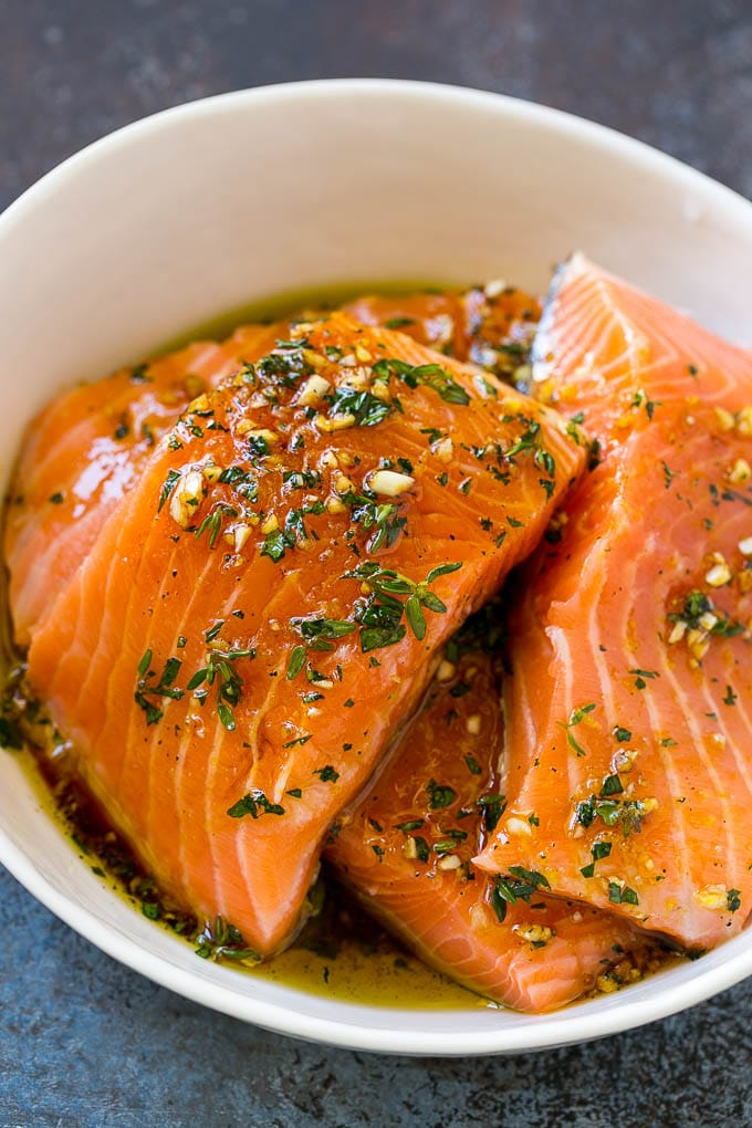 Salmon fillets in a lemon, garlic and herb marinade.