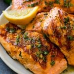 Grilled marinated salmon fillets with lemon, garlic and herbs.