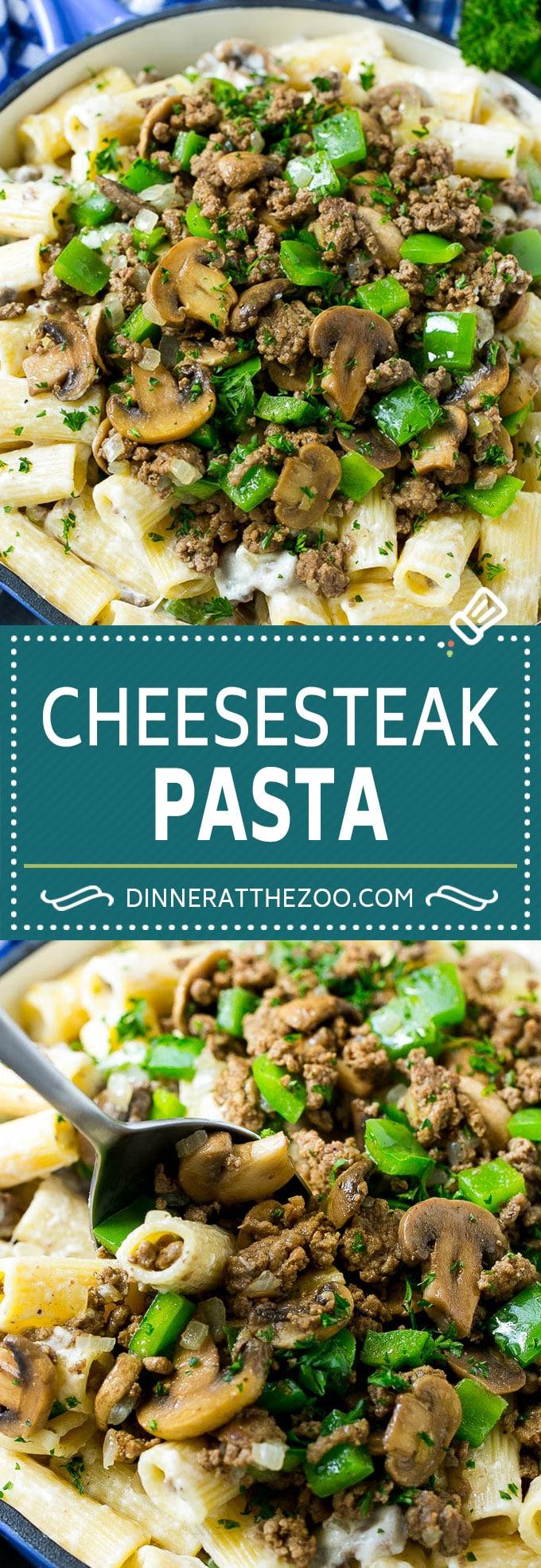 Philly Cheesesteak Pasta   Ground Beef Pasta   Creamy Pasta #phillycheesesteak #beef #pasta #peppers #mushrooms #dinner #dinneratthezoo