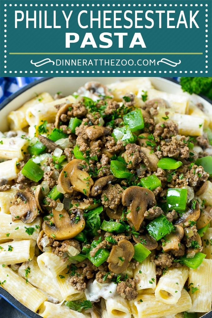 Philly Cheesesteak Pasta | Ground Beef Pasta | Creamy Pasta #phillycheesesteak #beef #pasta #peppers #mushrooms #dinner #dinneratthezoo