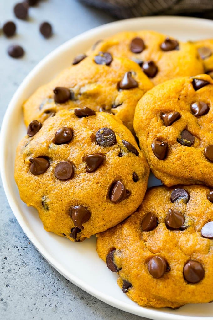 A plate of pumpkin chocolate chip cookies.