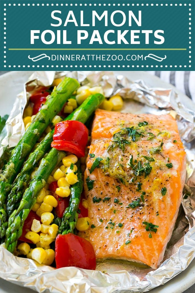 Salmon Foil Packets Recipe | Grilled Salmon | Salmon and Vegetables #salmon #grilling #asparagus #corn #dinner #dinneratthezoo