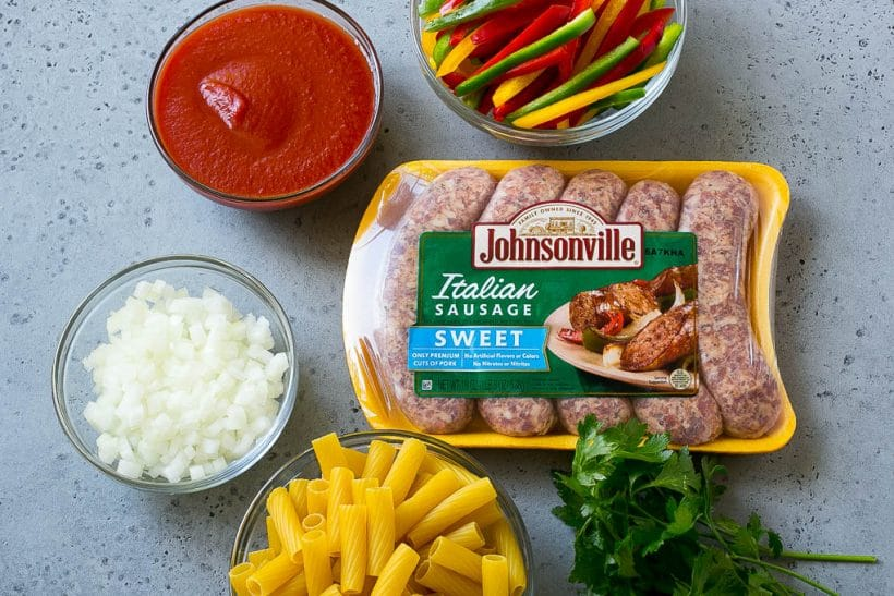 Ingredients for sausage and pepper pasta.
