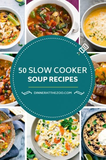 A comprehensive list of slow cooker soup recipes including bean soup, chicken soup, stews, chowders and potato soup.